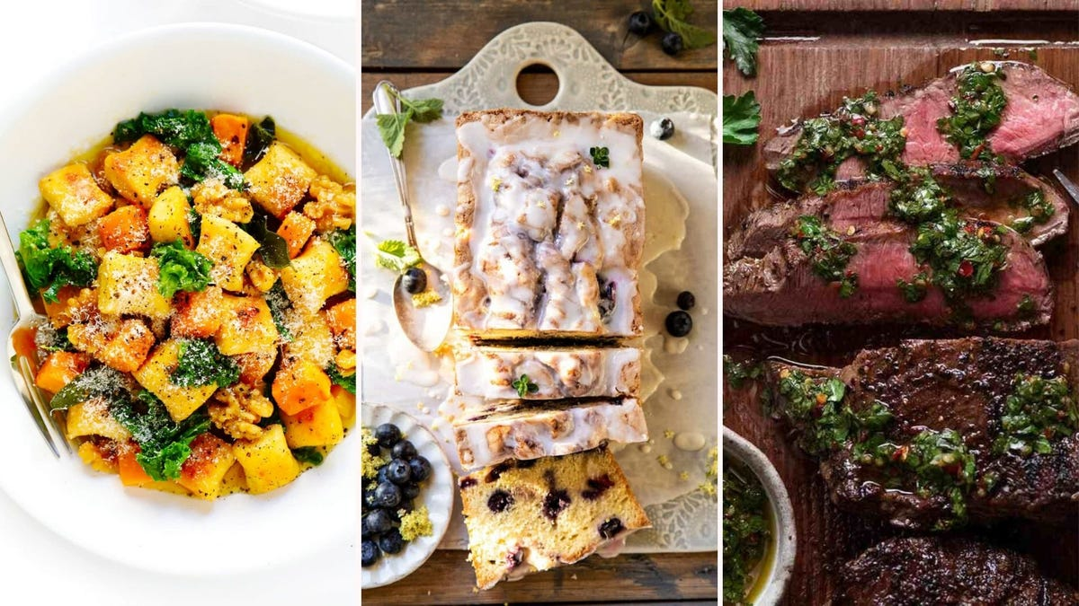 Gnocchi in a sage brown butter, blueberry lemon and thyme loaf, and skirt steak with chimichurri.