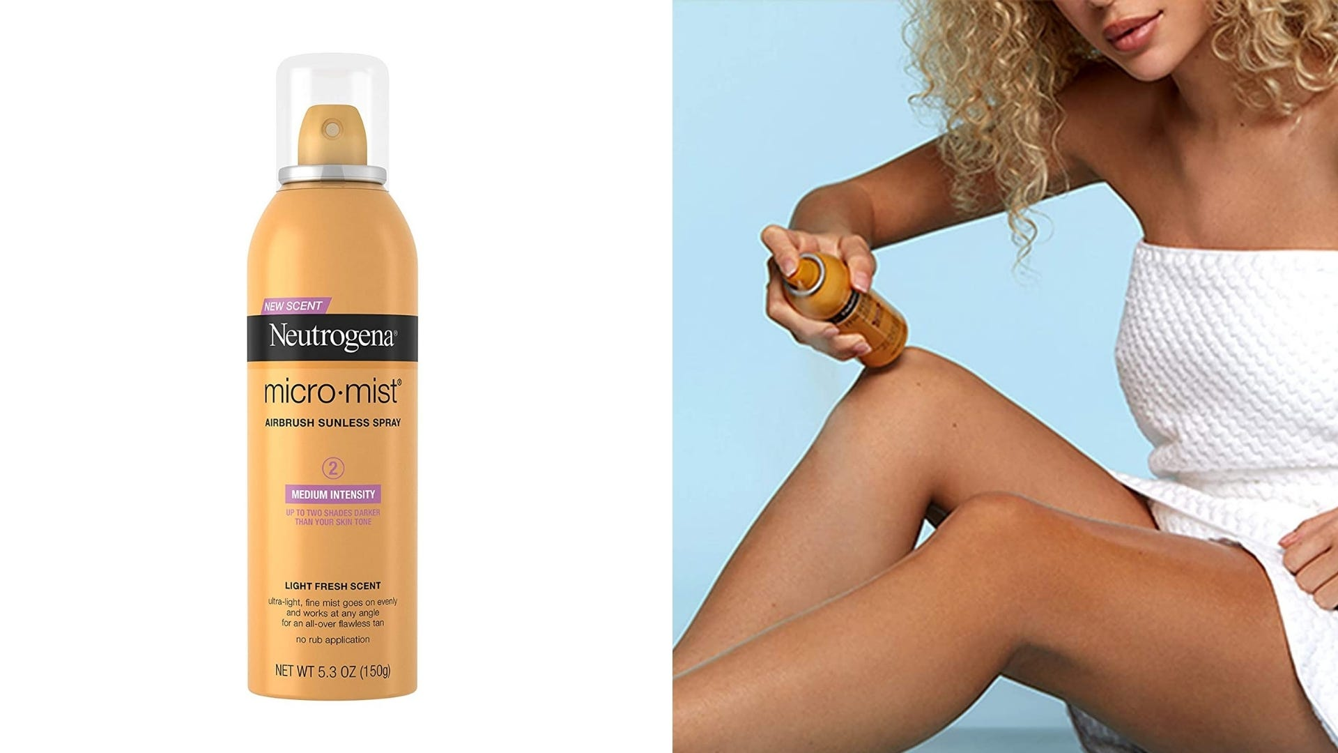 A yellow bottle of self tanning mist and a woman uses the mist on her legs.