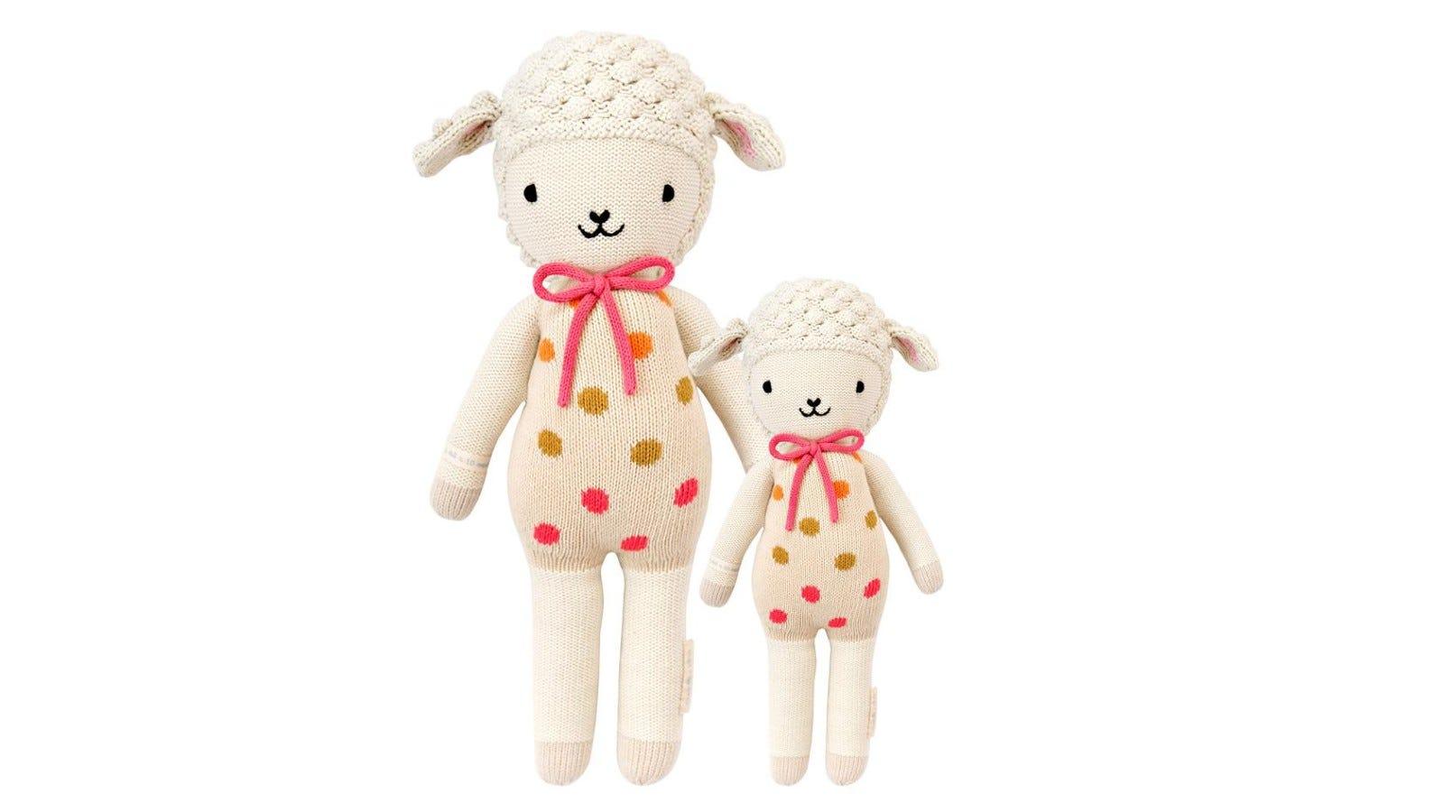 pink and white stuffed lamb