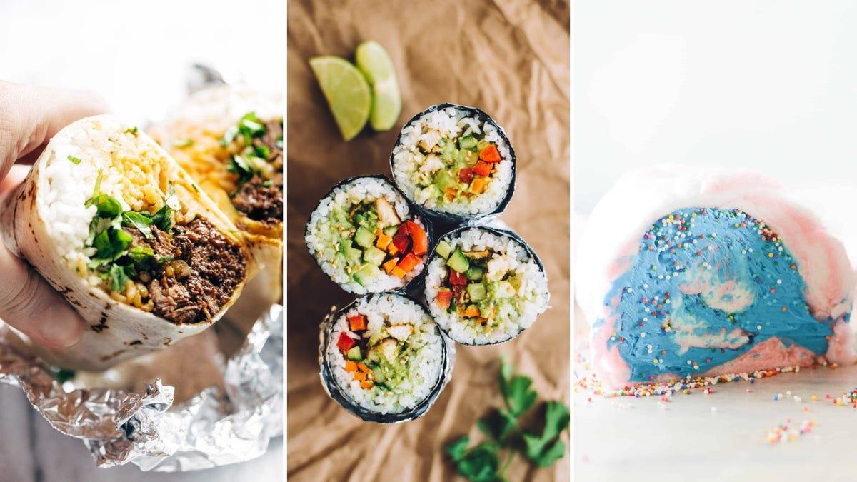From left to right: a Korean barbecue burrito, sushi burrito, and cotton candy burrito filled with ice cream