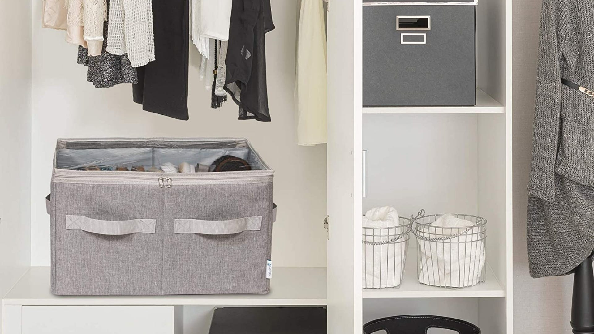 The gray Moteph Shoe Organizer on a shelf in a closet.