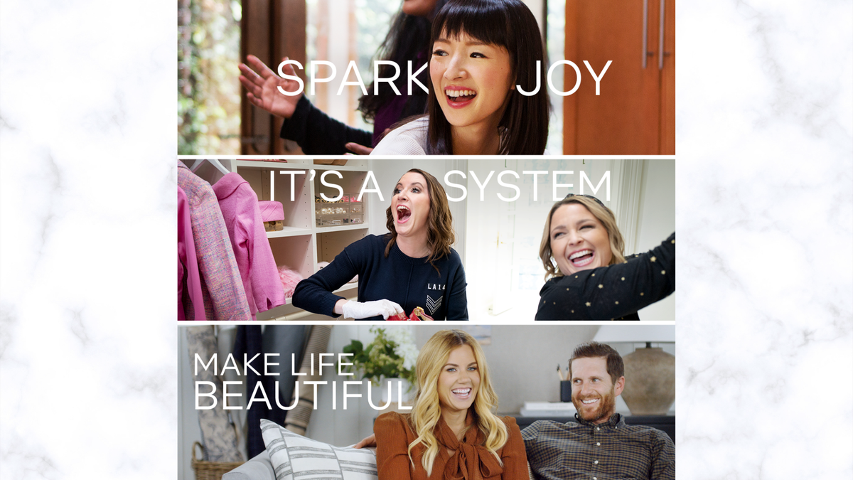 """An ad for """"Sparking Joy with Marie Kondo,"""" featuring the founders of """"The Home Edit,"""" and Shea and Syd McGee of """"Studio McGee."""""""