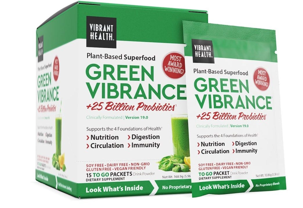 A packet of Green Vibrance leaning against a box of 15.