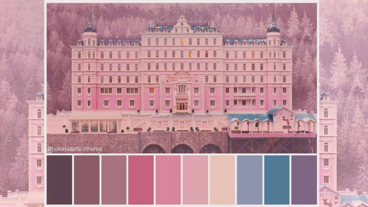 """The pink and blue hotel from """"The Grand Budapest Hotel"""" above 10 different colors that appear in the image."""