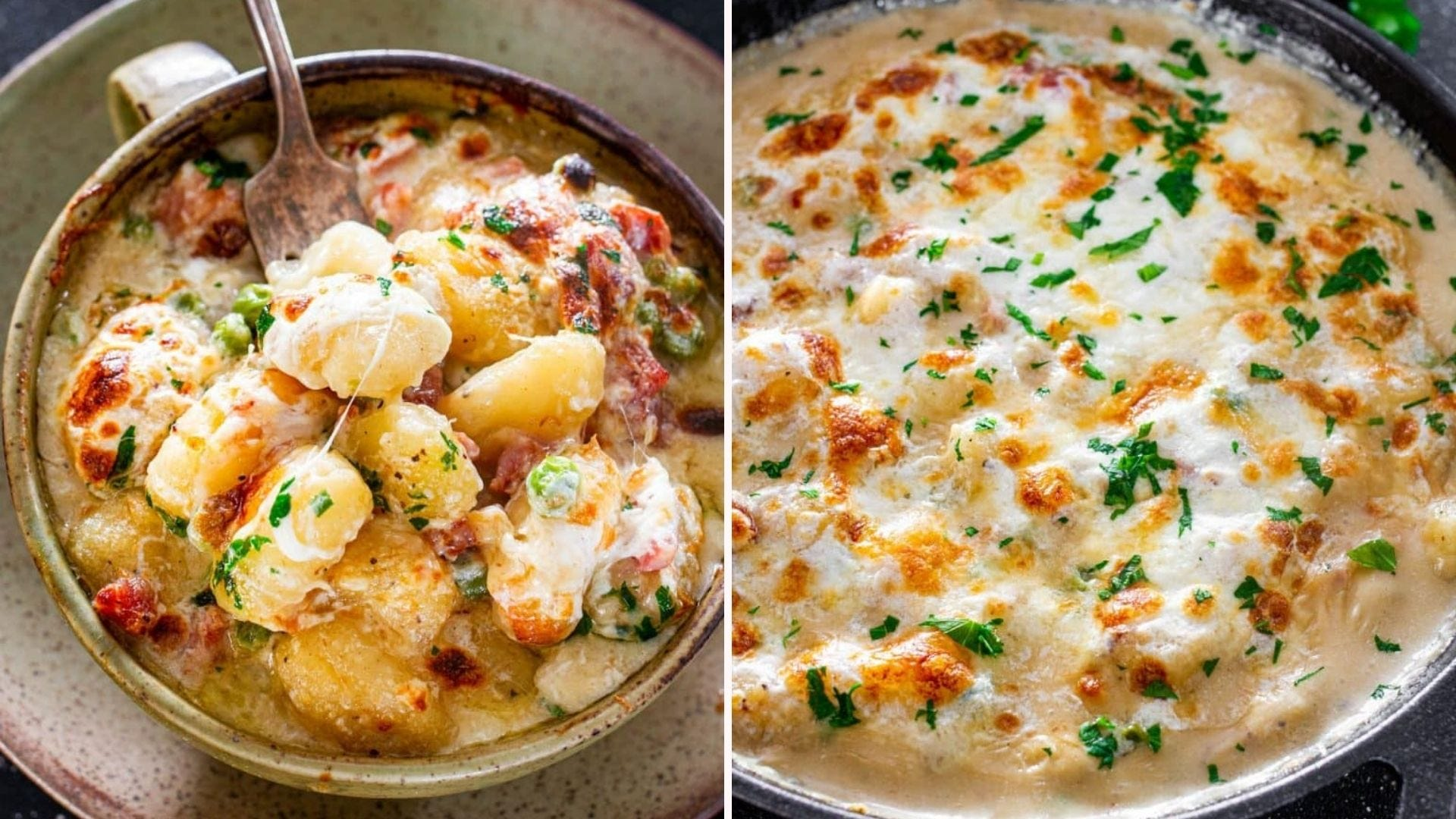 Two side-by-side images: The left is of a bowl of gnocci with stringy cheese and gorgeous broil marks and the right image is of a skillet hot out of the oven ready to be served.