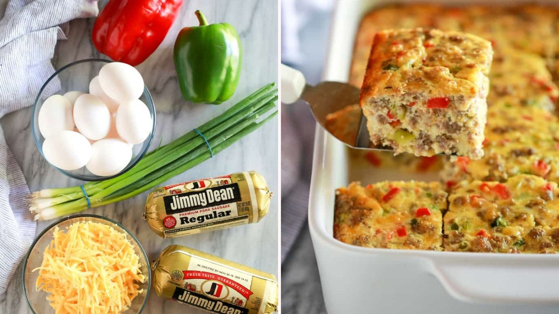 Two images: the left image displays ingredients used to make a breakfast casserole and the right image is of a square piece of casserole from a freshly baked dish.