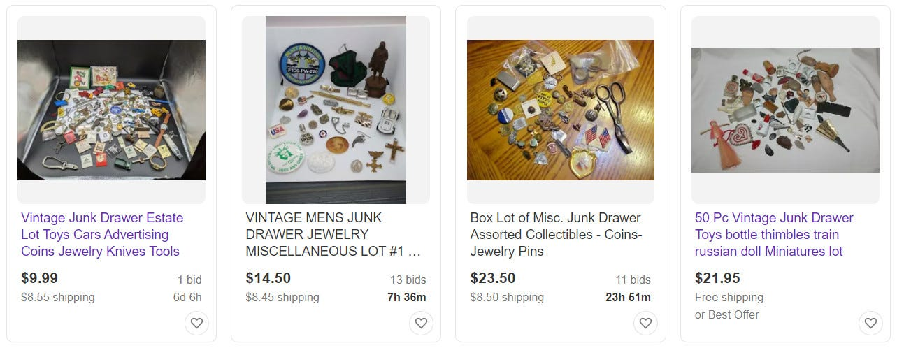 Four listings for junk drawer lots on Etsy.