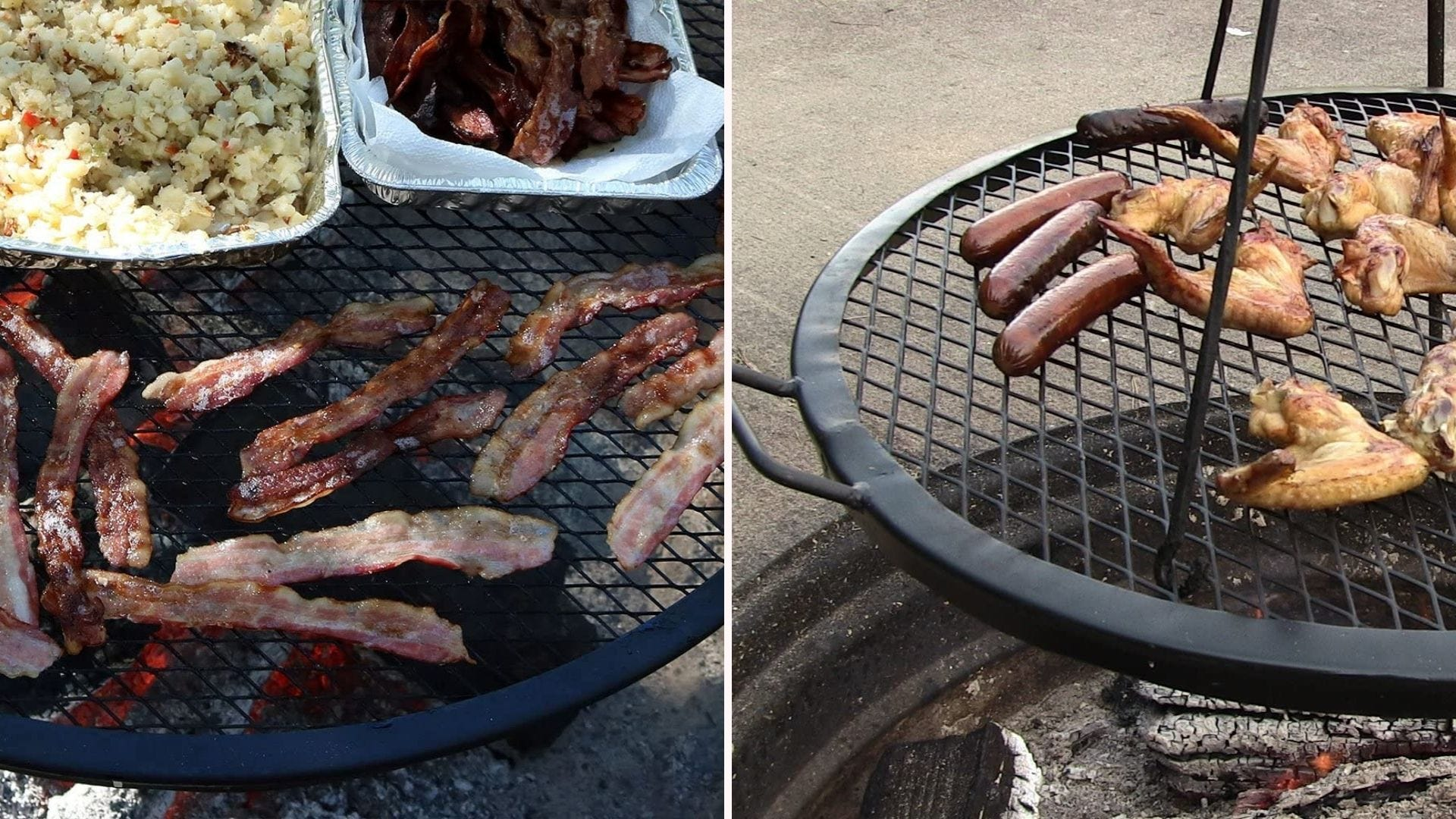 Two side by side images: the left image is of bacon, and home fries cooking on a Sunny Daze grill grate. The right image is of chicken wings and hot dogs cooking on a SunnyDaze grate, which is attached to a grilling tripod.