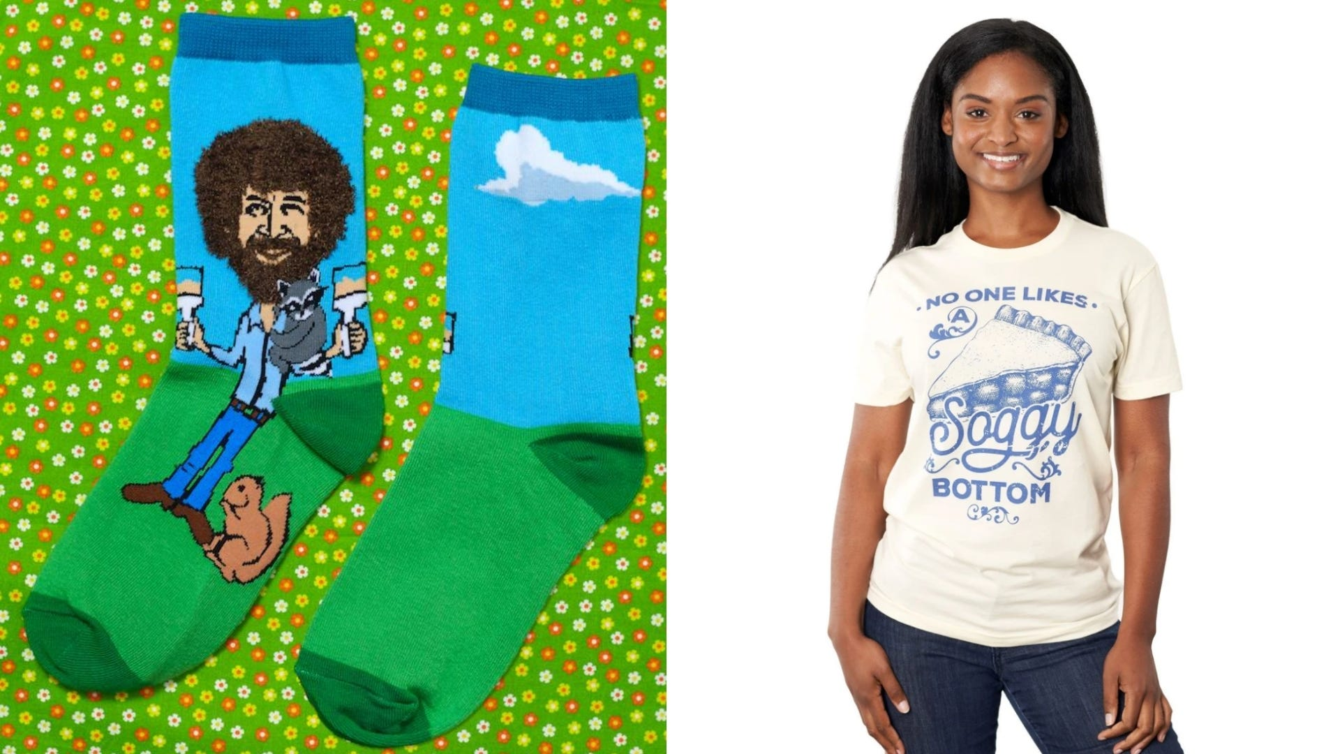 A pair of socks with Bob Ross on them and a woman wearing a shirt referencing The Great British Baking Show