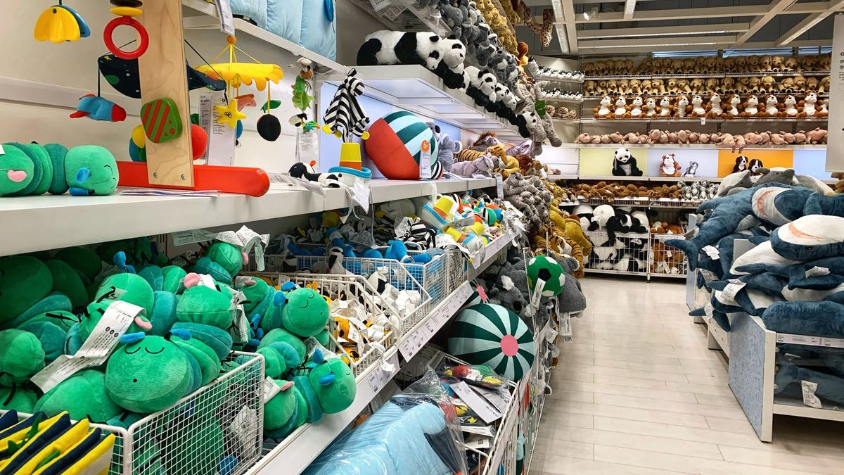 The toy section at an IKEA store.