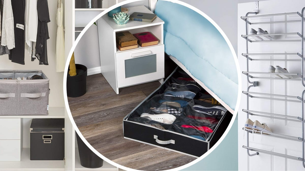 The Moteph fabric basket, The HOLDN' STORAGE underbed shoe organizer, and the Type A Over-the-Door shoe rack.