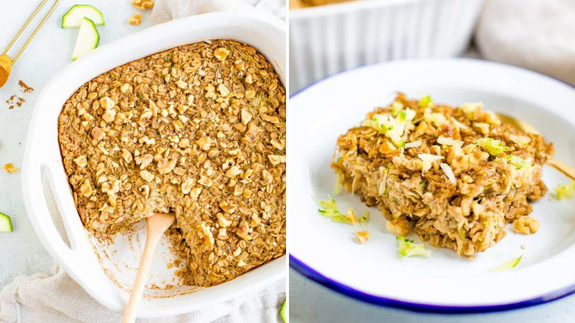 Two photos of baked zucchini bread oatmeal