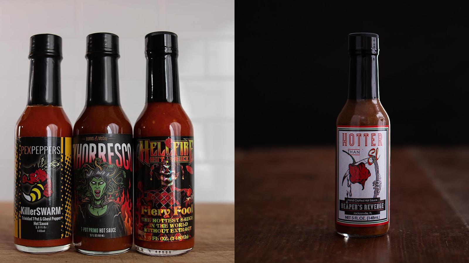 Doc Hotties hot sauce bottles from past orders