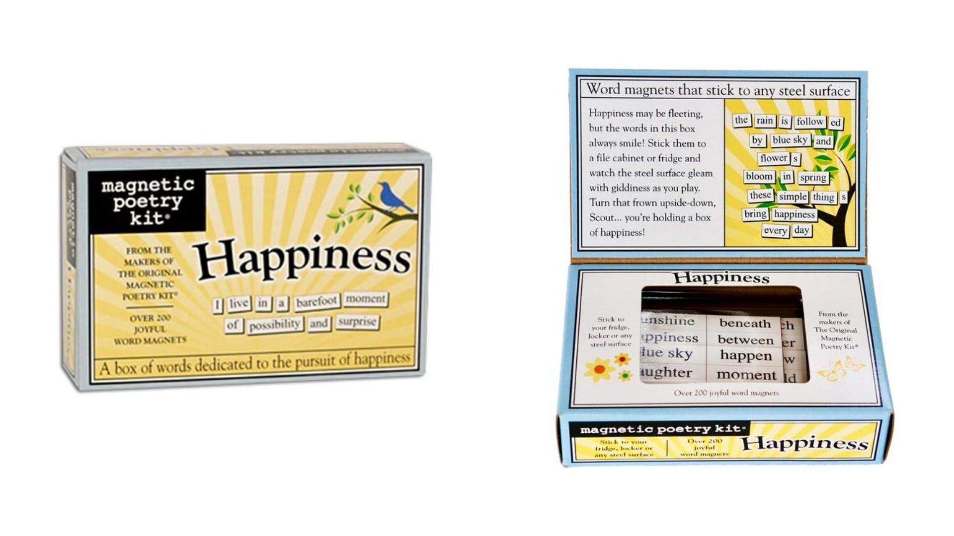 A front and inside view of the Happiness Magnetic Poetry kit