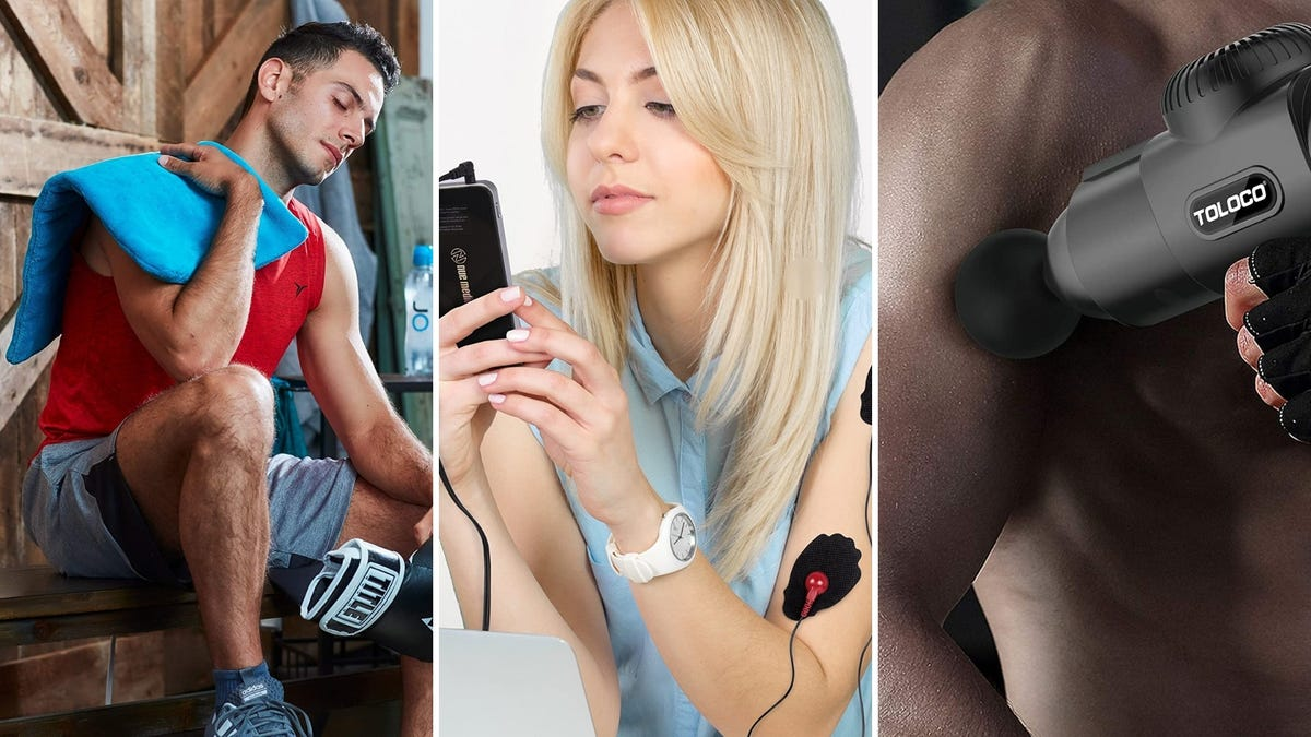 A man holds a heating pad on his shoulder, a woman uses a TENS unit, a man uses a massage gun.