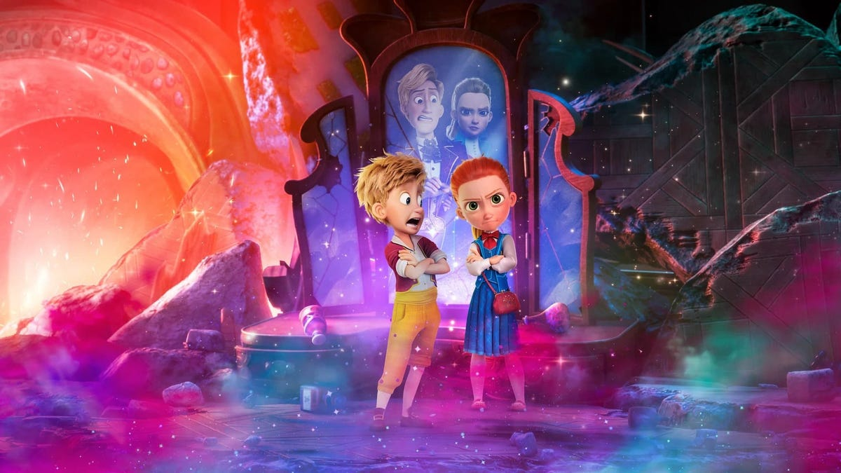 "The Hansel and Gretel animated characters standing in front of a mirror in a scene from ""Secret Magic Control Agency."""
