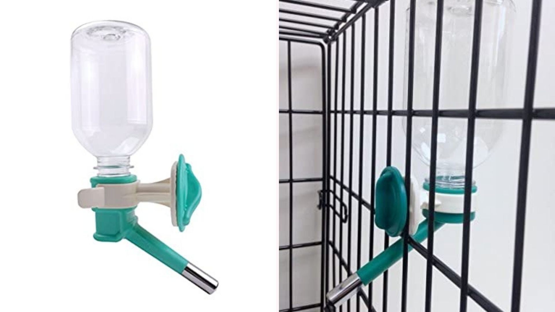 No-Drip small animal water bottle on a cage.