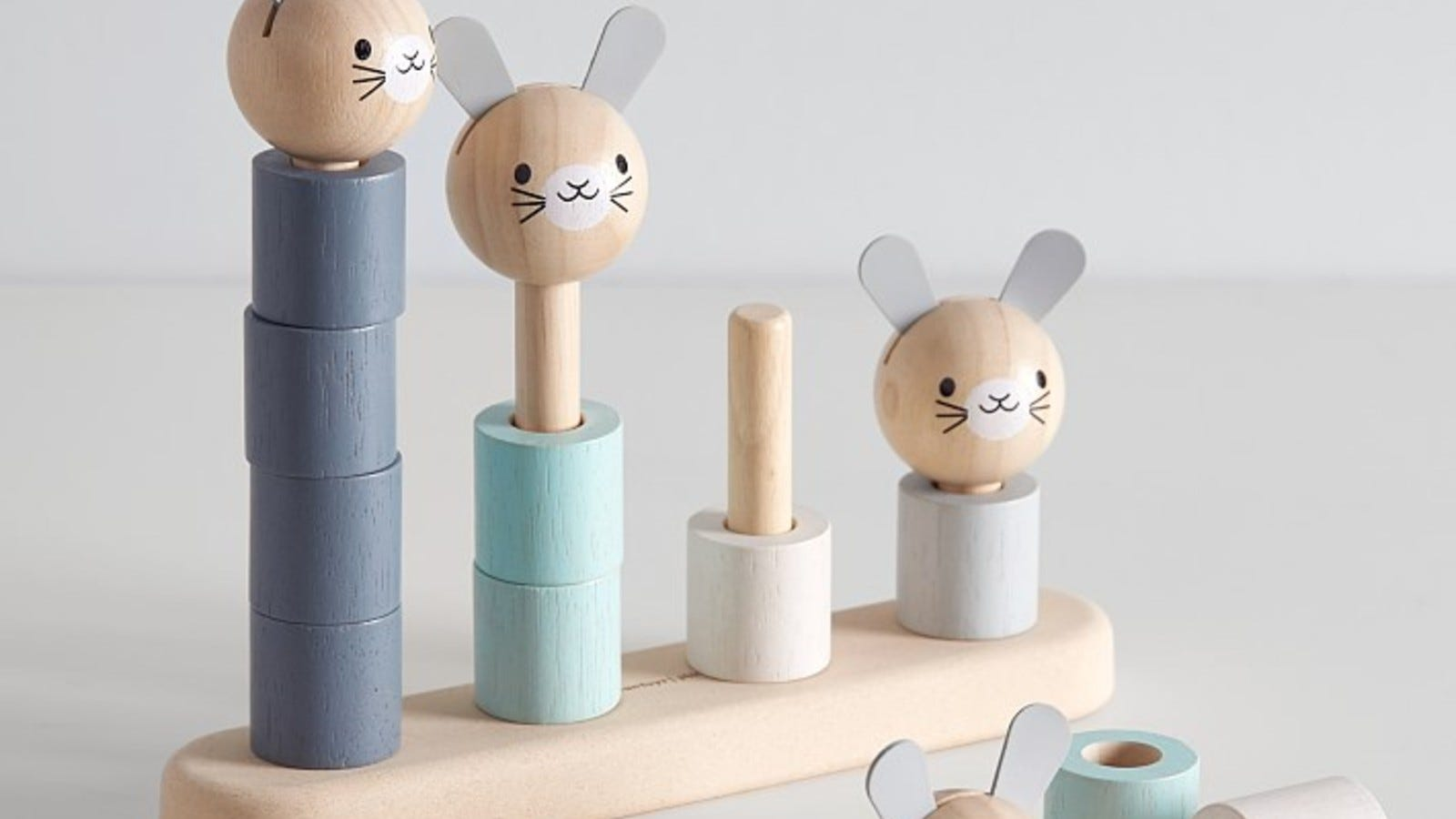 blue and white bunny stacker toy