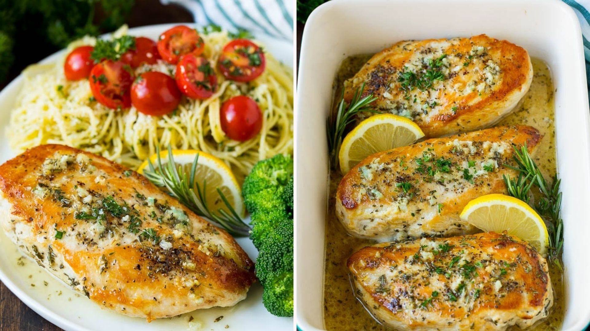 Two image: The left is of rosemary lemon chicken plated with angled hair pasta and broccoli, garnished with a large sprig of rosemary and a lemon wedge and the right image is of three chicken breasts in a casserole dish garnished with lemon and rosemary.