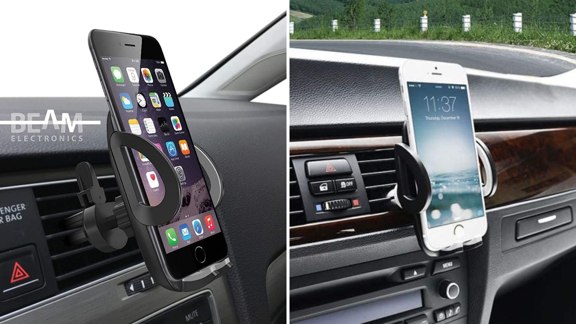 Smartphone holder secured in air vent of a car