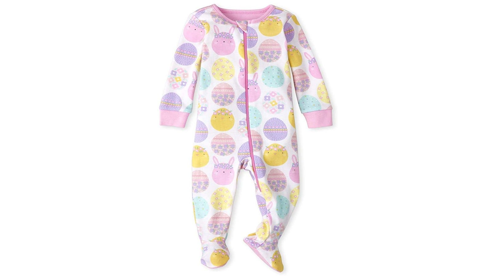 footie pajamas with pastel eggs