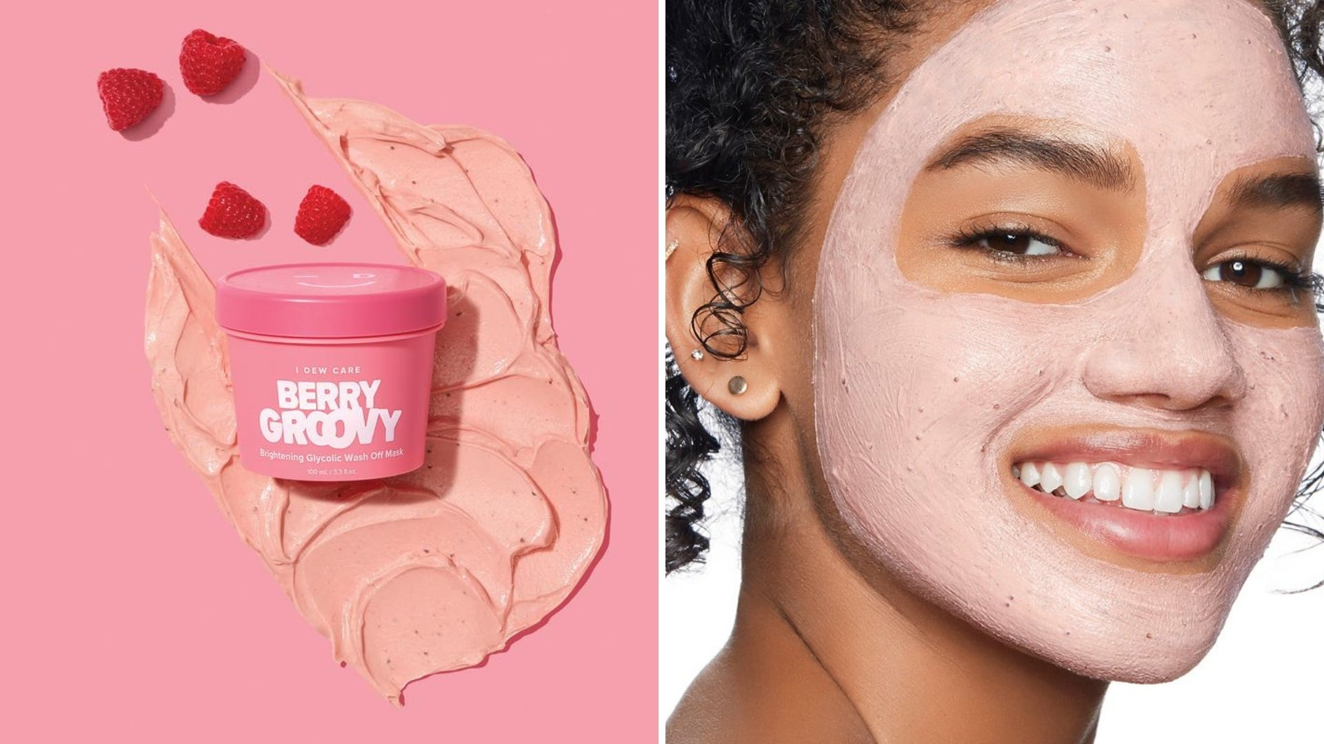 A face mask in a pink container sits on a pink background; a woman is smiling wearing a pink face mask.