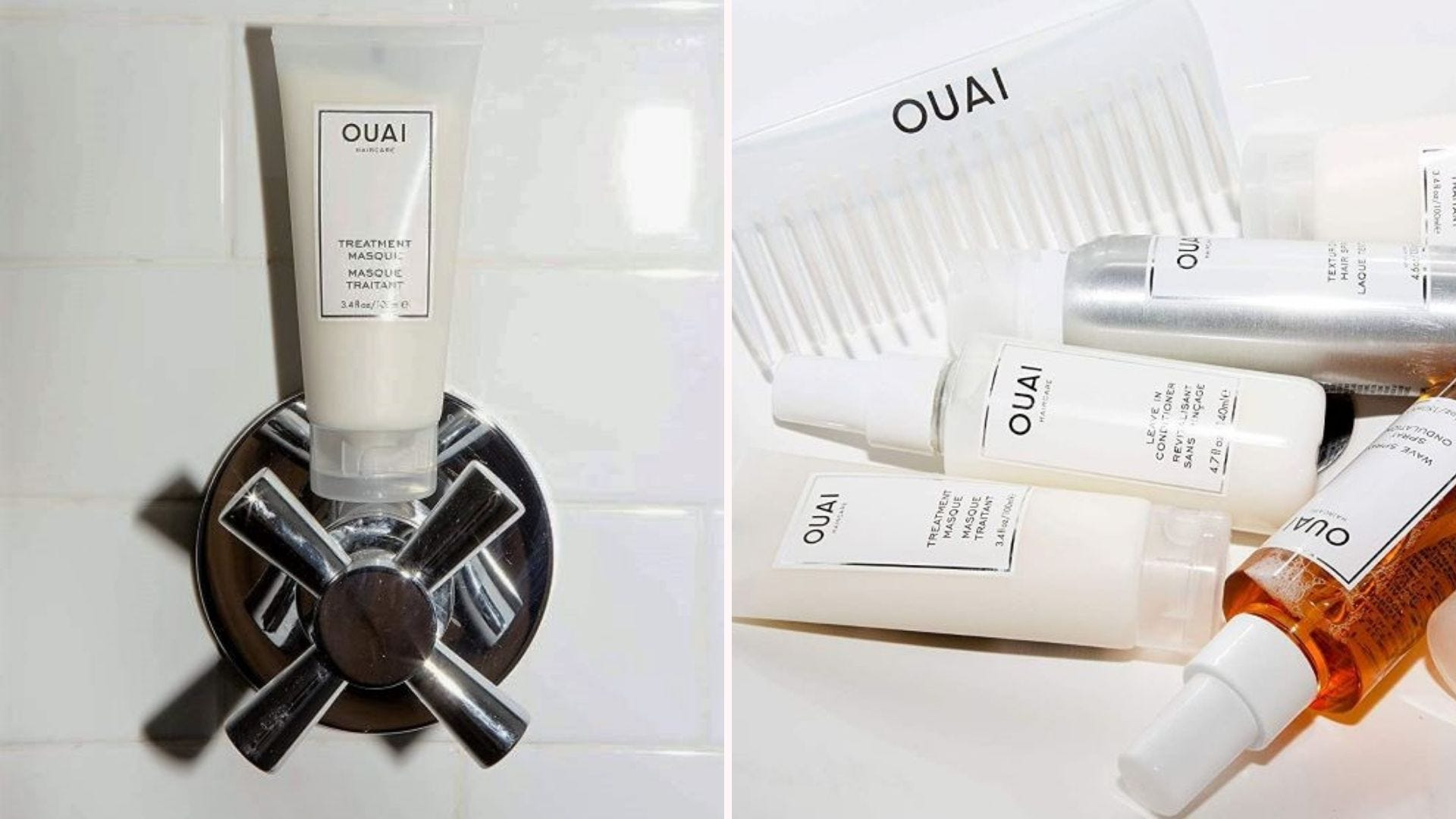 A tube of OUAI Treatment Masque sitting on a shower faucet and the whole line of OUAI haircare products lying on a counter.