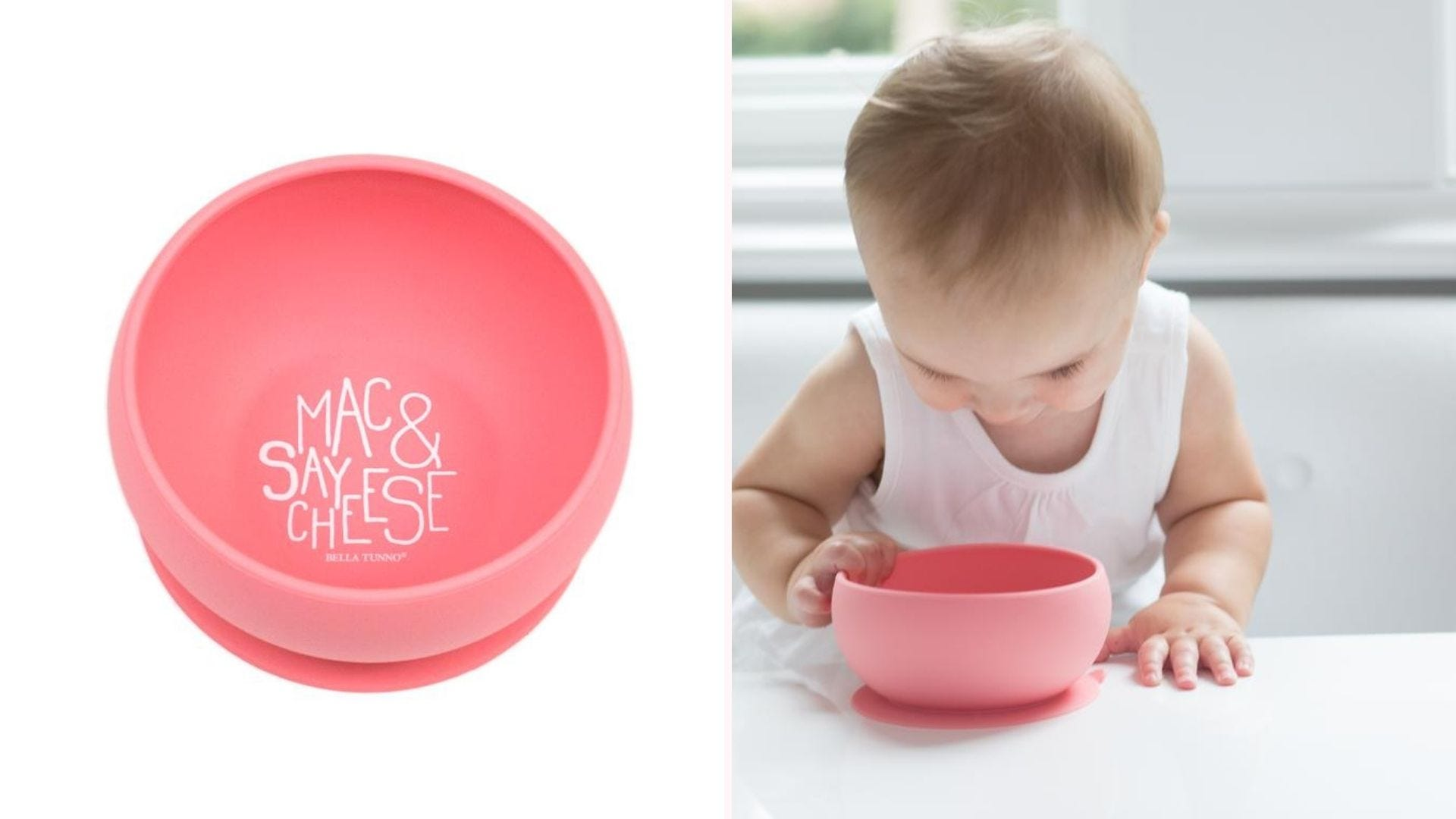 The Mac & Say Cheese bowl and a toddler looking inside it.