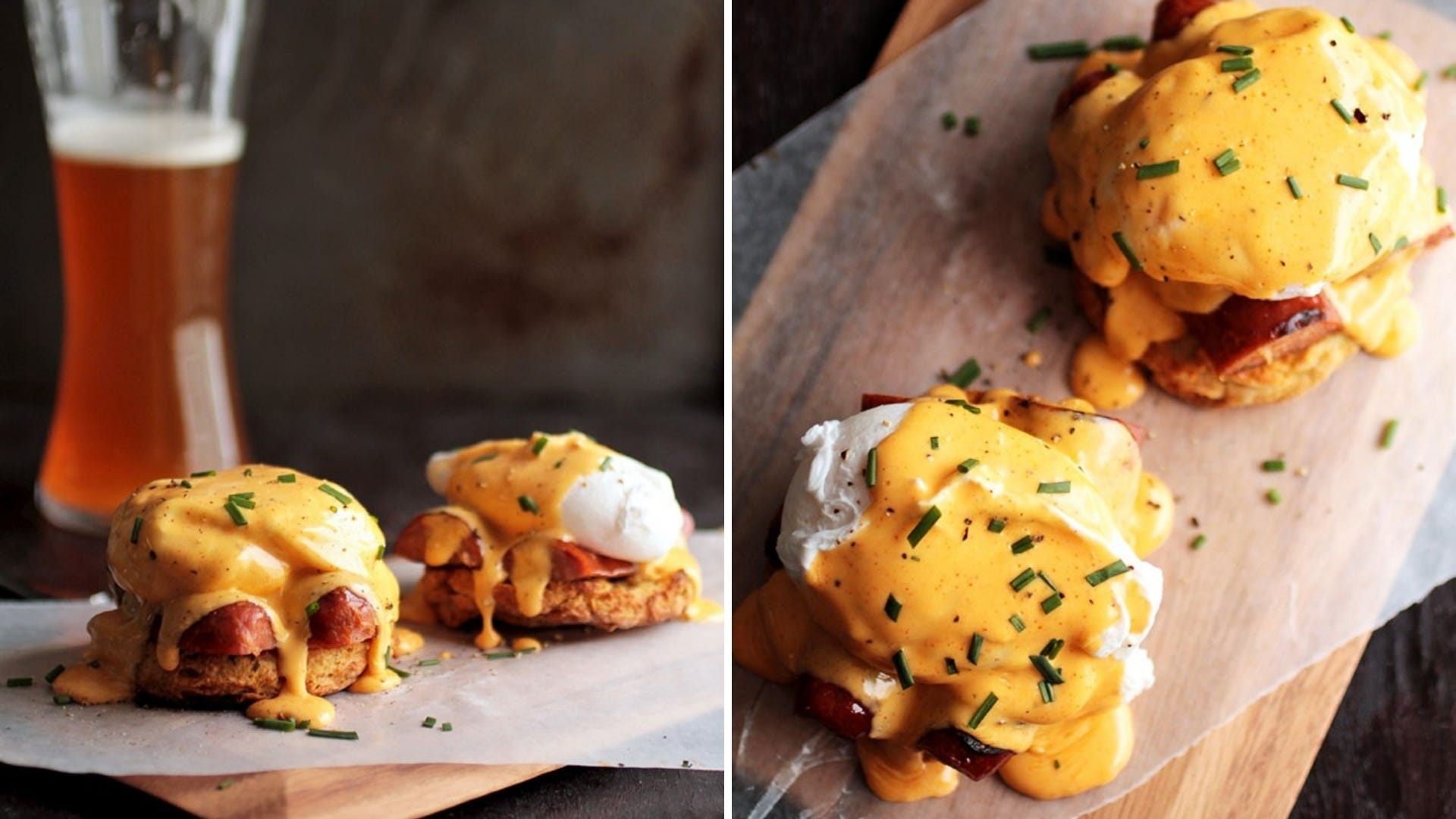 An Eggs Benedict dish sits on a wooden board with a orange sauce on top.