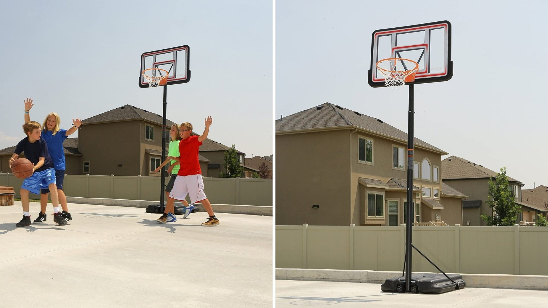 Children playing basketball outside a home.