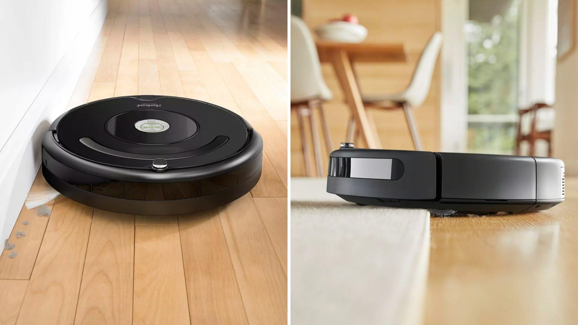 The iRobot Roomba 675 vacuuming a hardwood floor and area rug.