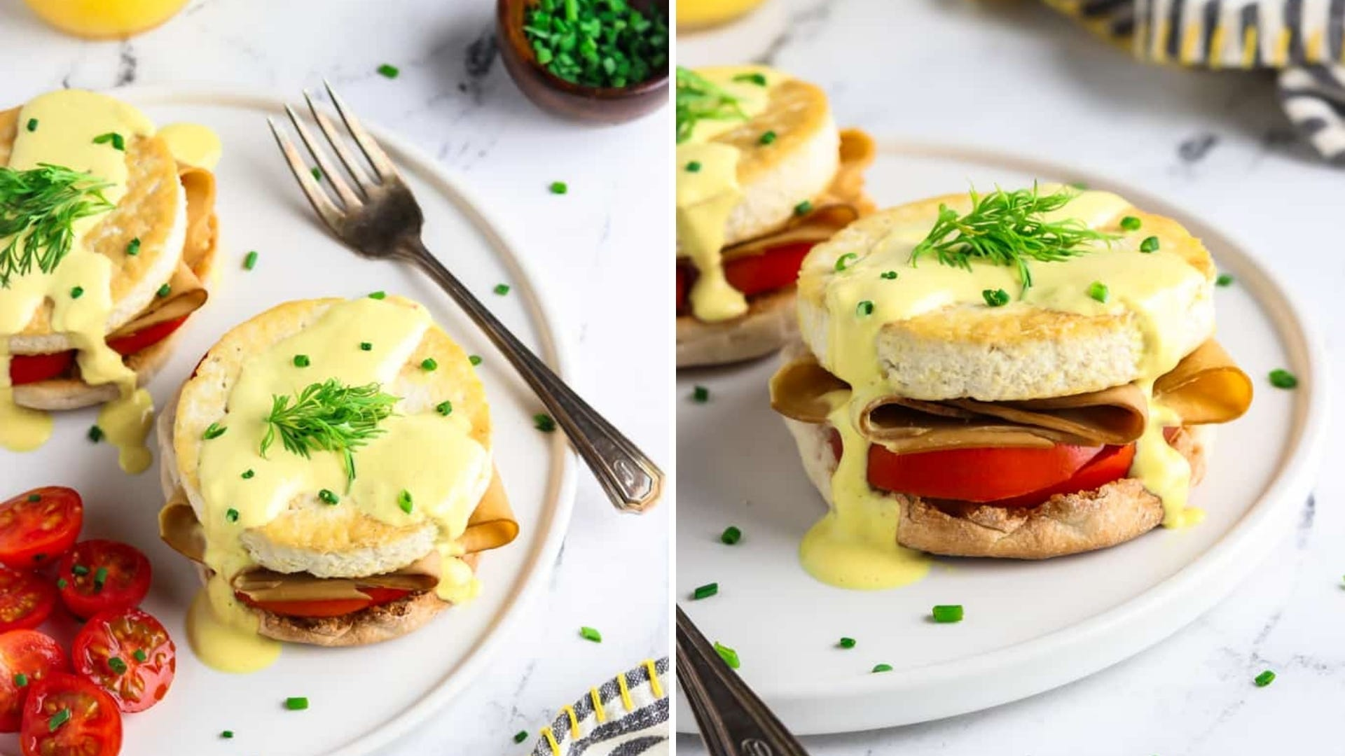 A vegan Eggs Benedict dish sits on a white plate with a tofu patty and creamy sauce.