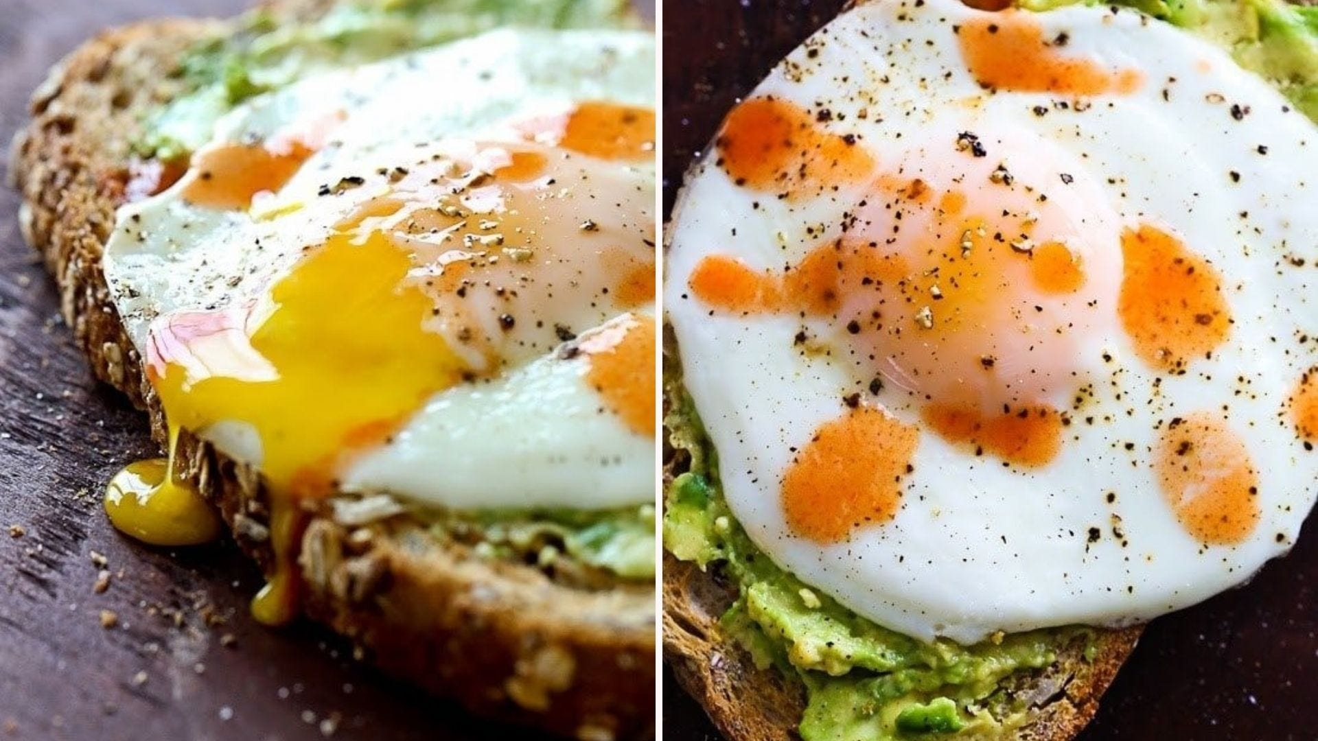 Two images: The left image is of a yolky sunny side egg placed over avocado toast and the right image is an overshot image of the same avocado toast with egg topped with hot sauce and cracked pepper.