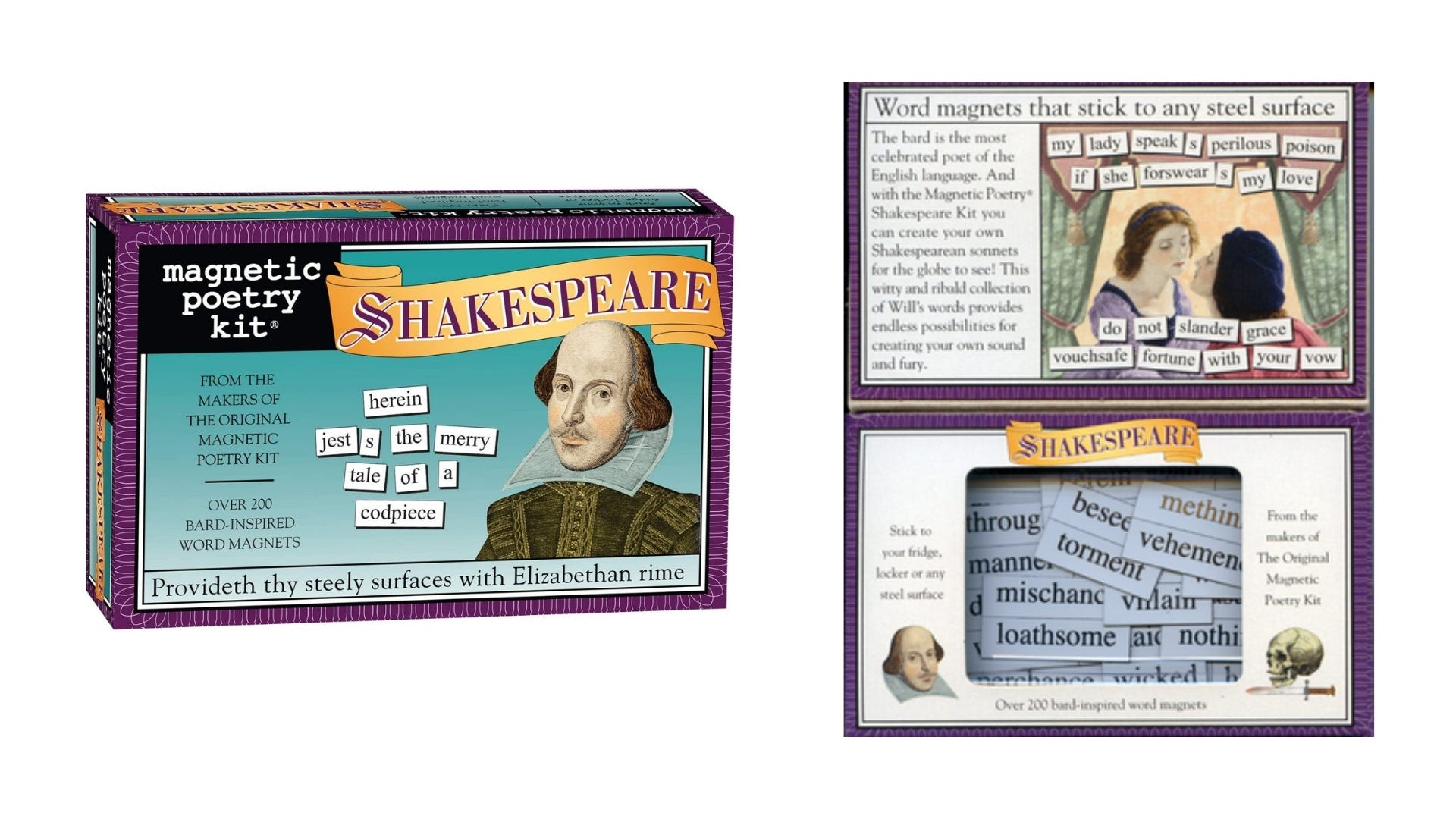 A front and inside view of the Shakespeare Magnetic Poetry kit