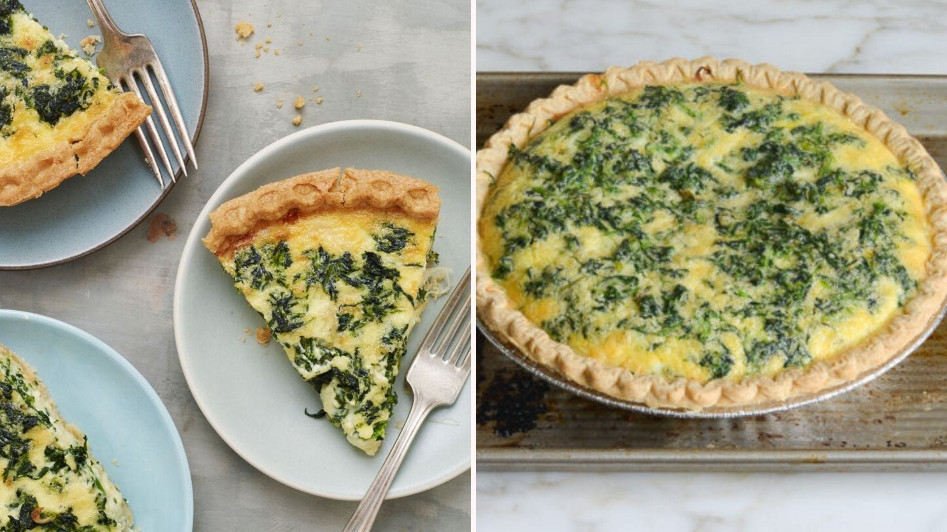 Two images: The left features three plates with slices of spinach and cheese quiche and the right image is of a full quiche fresh out of the oven.