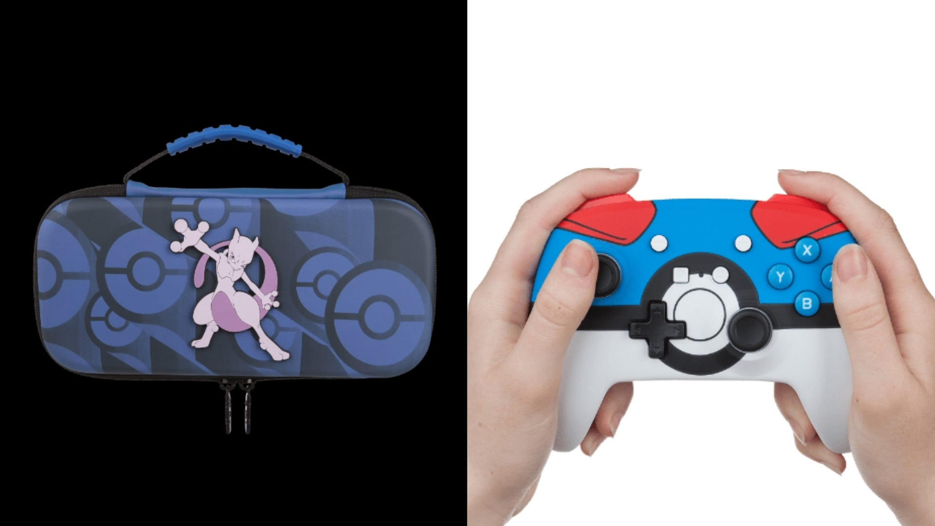 A Mewtwo Nintendo Switch case and a person holding a Poke Ball video game controller.