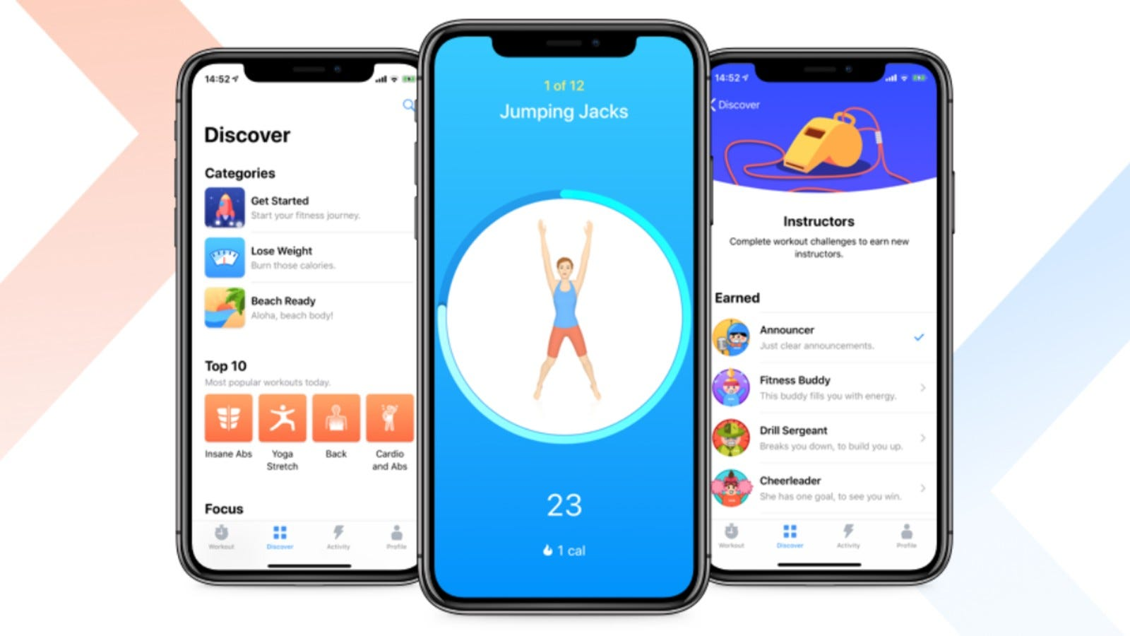 iPhone screens showing exercise app
