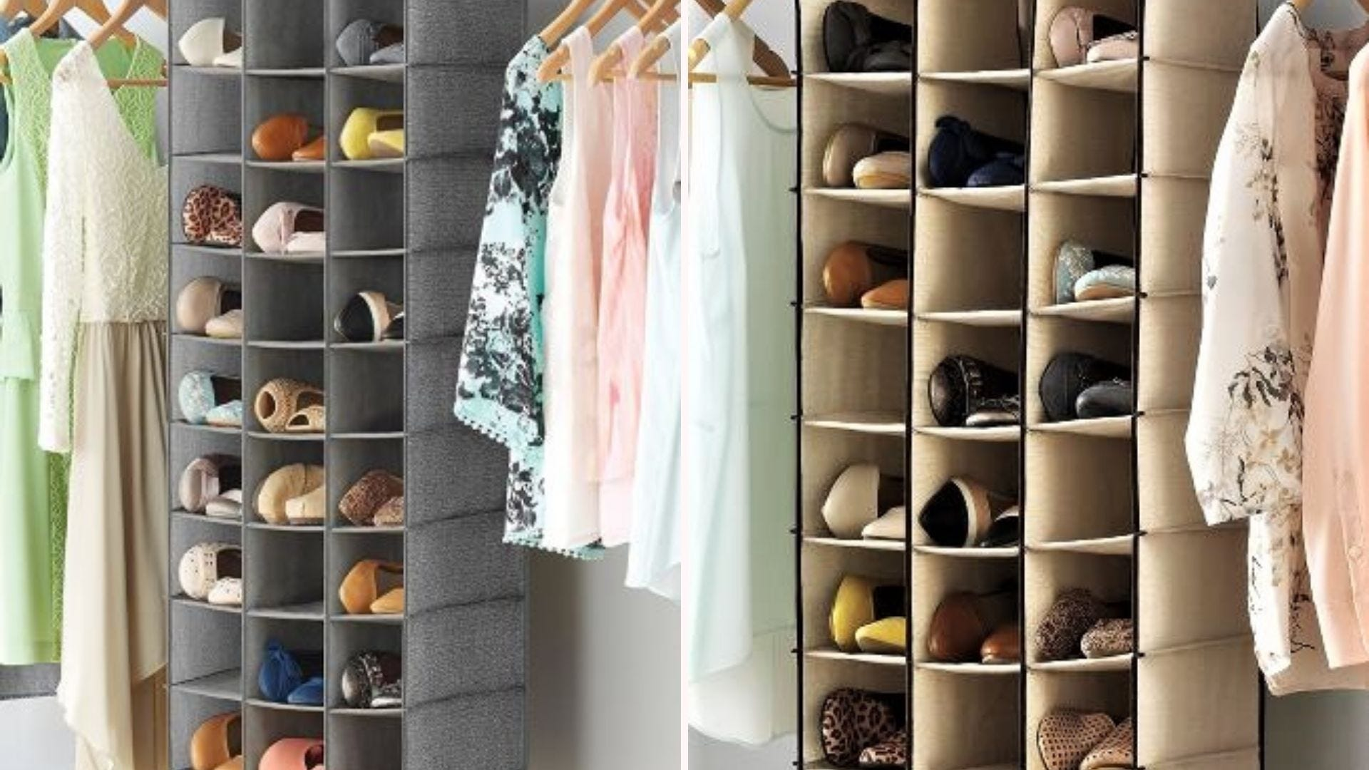 Two hanging shoe racks in closets.
