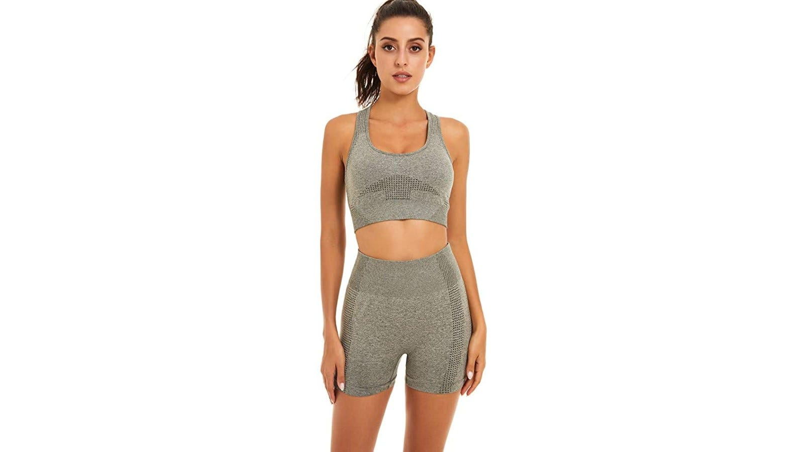 woman wearing gray activewear short set