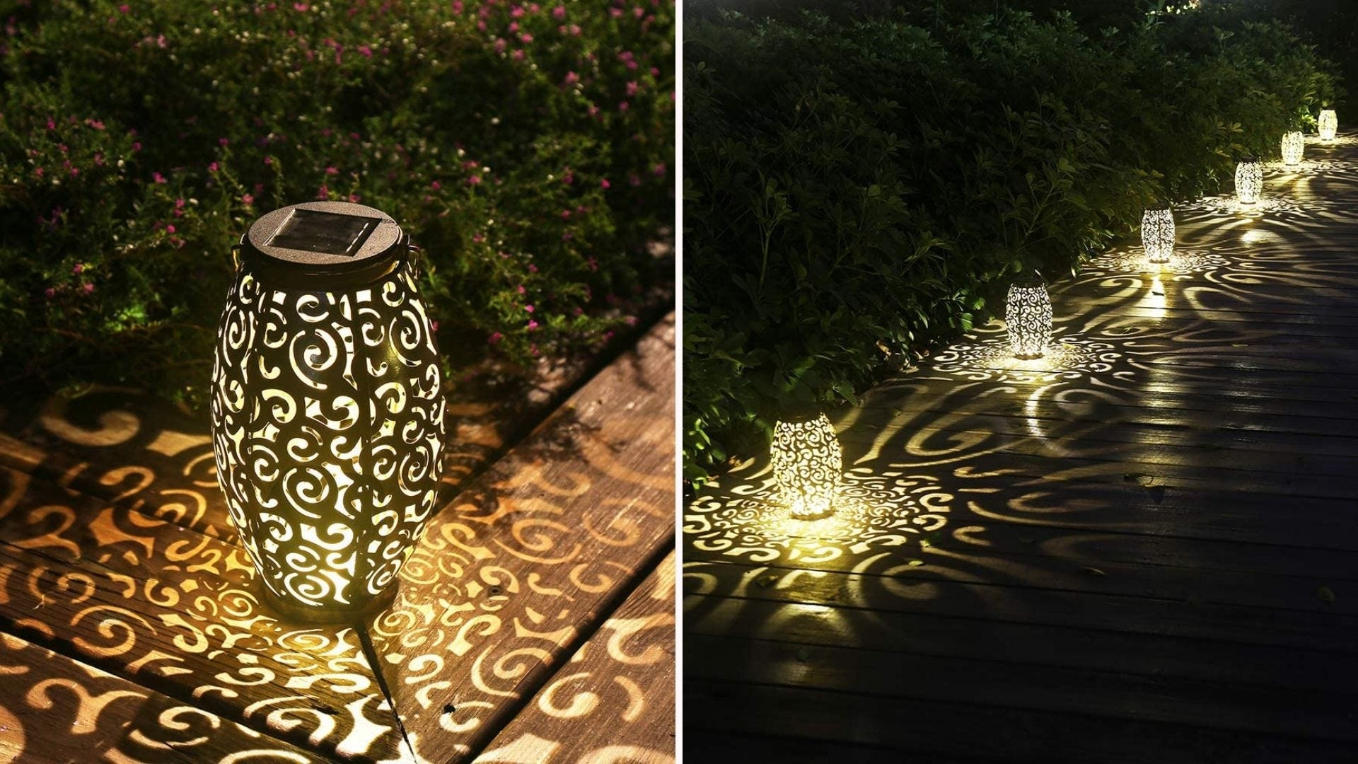 Two side-by-side images of the Esgarden solar lantern illuminating different areas of someone's yard.