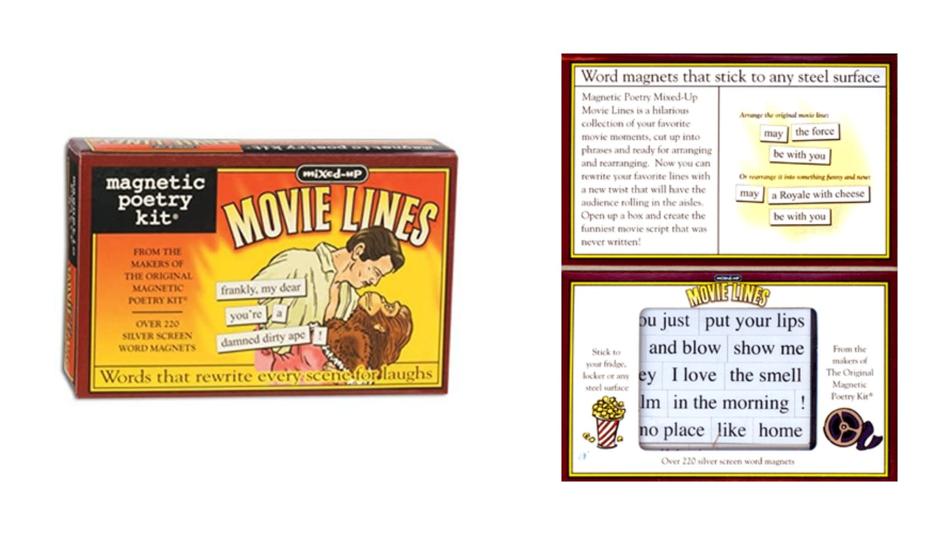 A front and inside view of the Movie Lines Magnetic Poetry kit