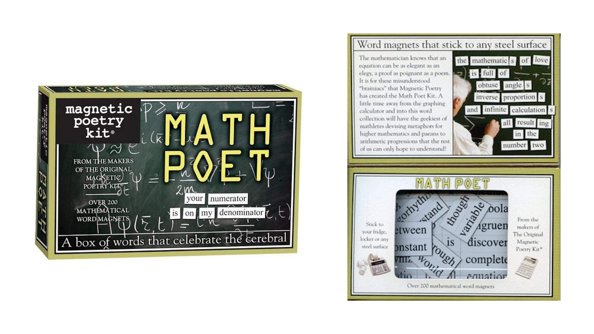 A front and inside view of the Math Magnetic Poetry kit