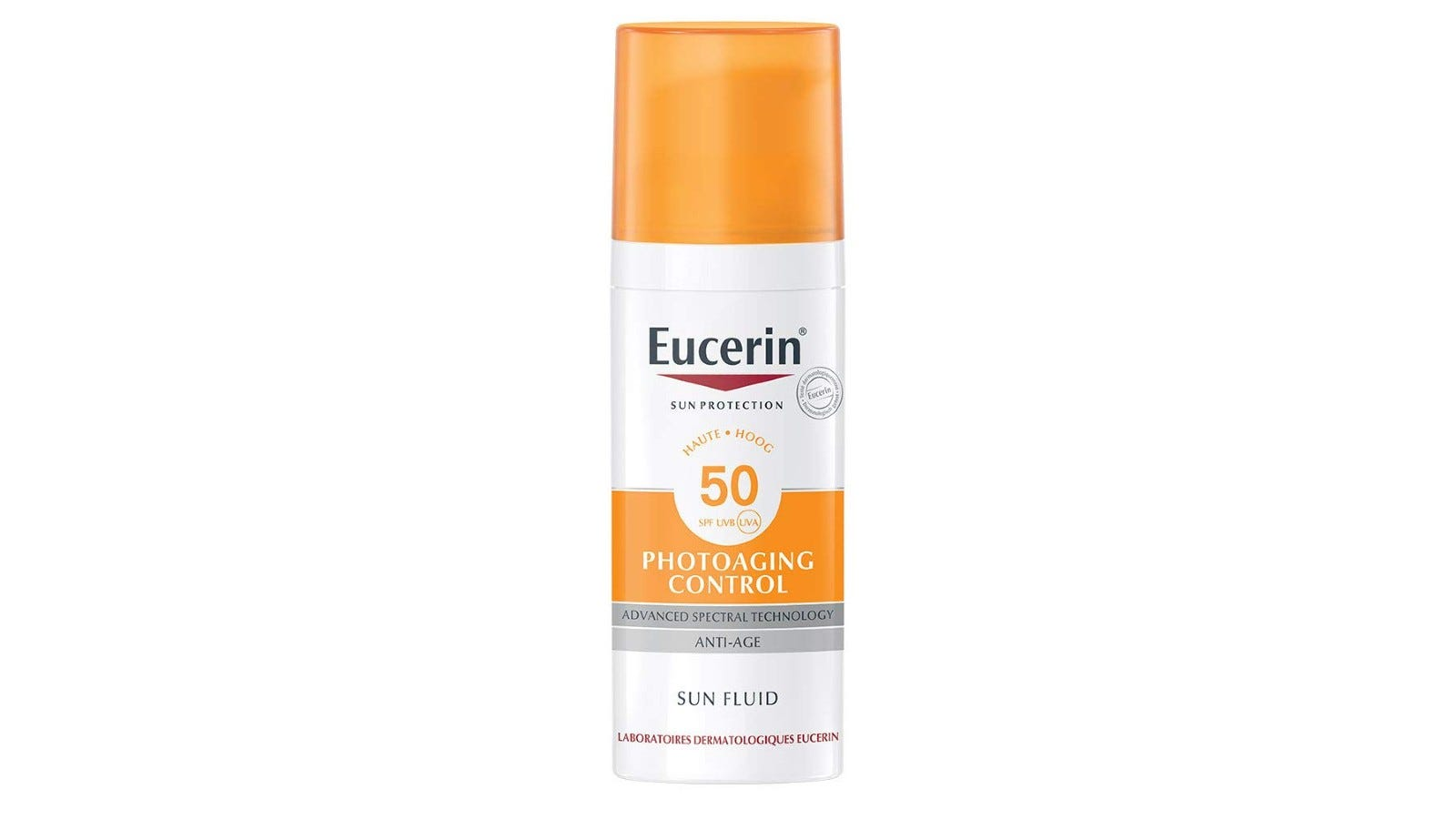An orange and white container of Eucerin skincare cream.