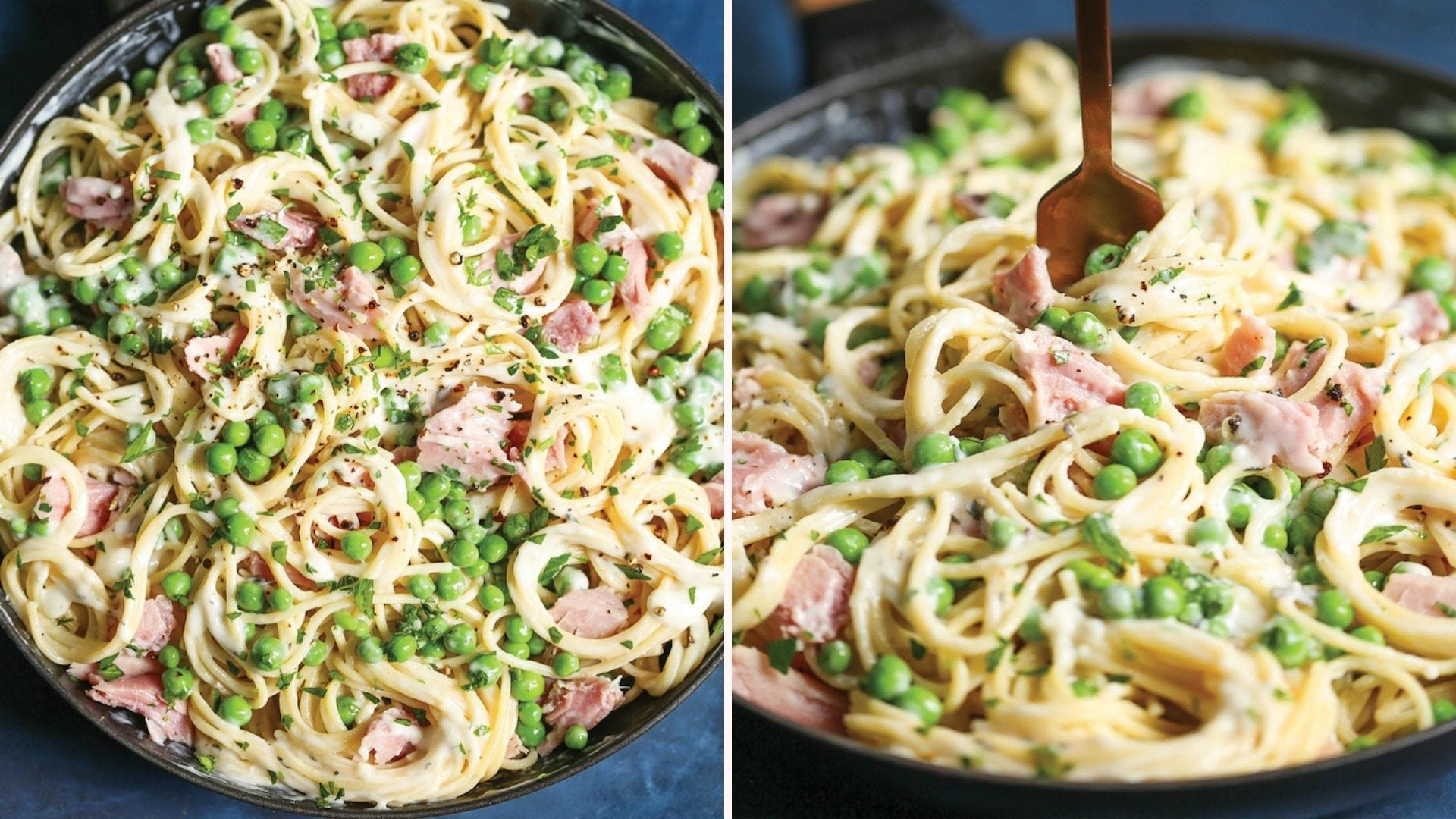 Two images: The left image is of an overview shot of ham and peas pasta and the right image is of an angled front view of the same dish.
