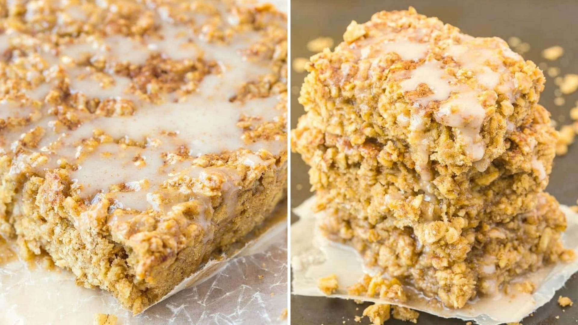 Baked oatmeal with icing on top
