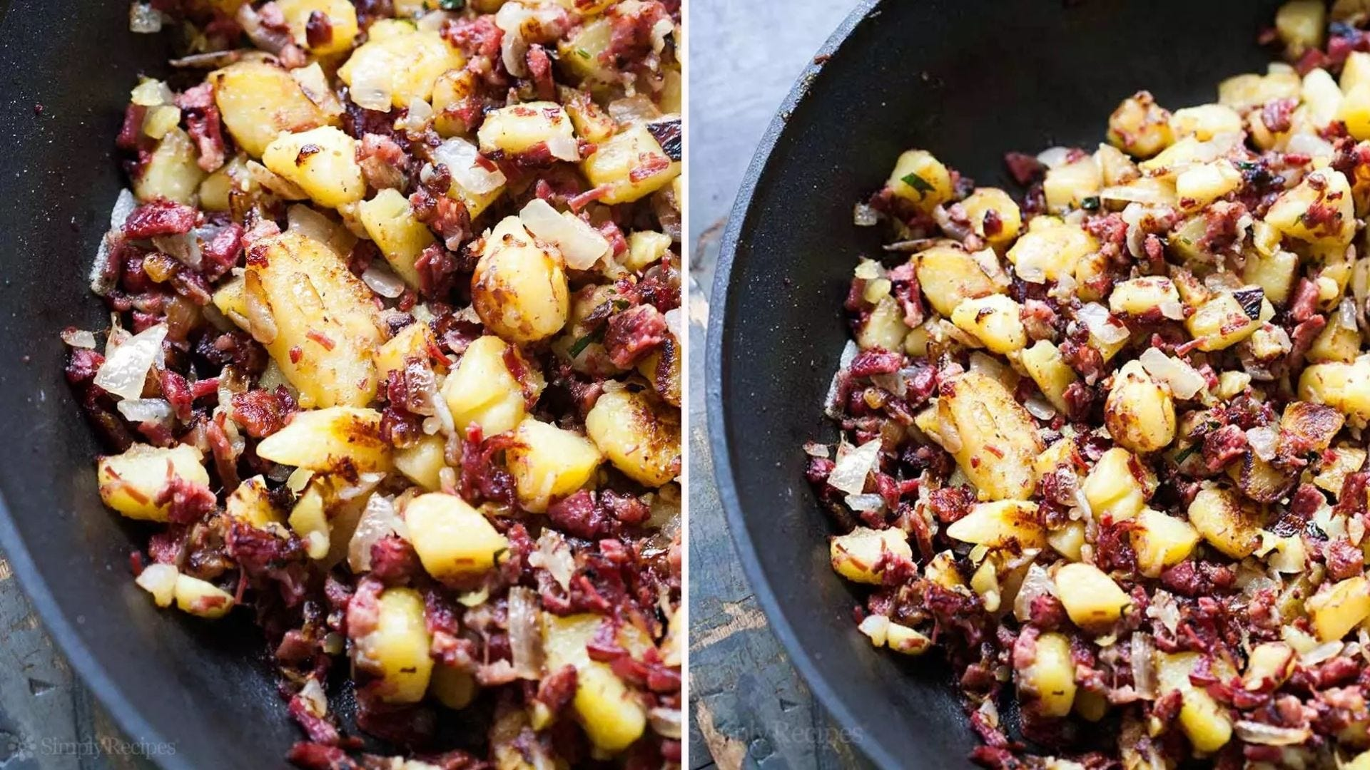 Two side by side images of corned beef and cabbage by Simply Recipes.