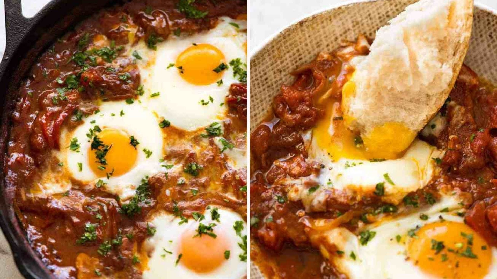 Two images: The left image is of a baked shakshuka skillet topped with cracked eggs and the right image is of warm crusty bread dipped in the yolk.