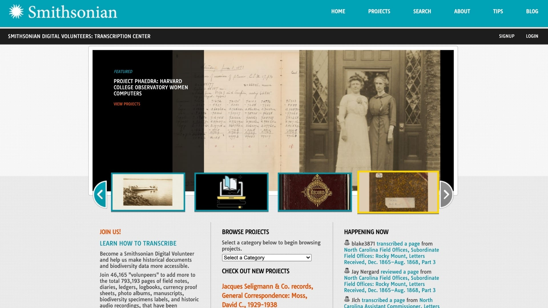 Homepage of the Smithsonian Transcription Center with an image of an old photograph and a letter.