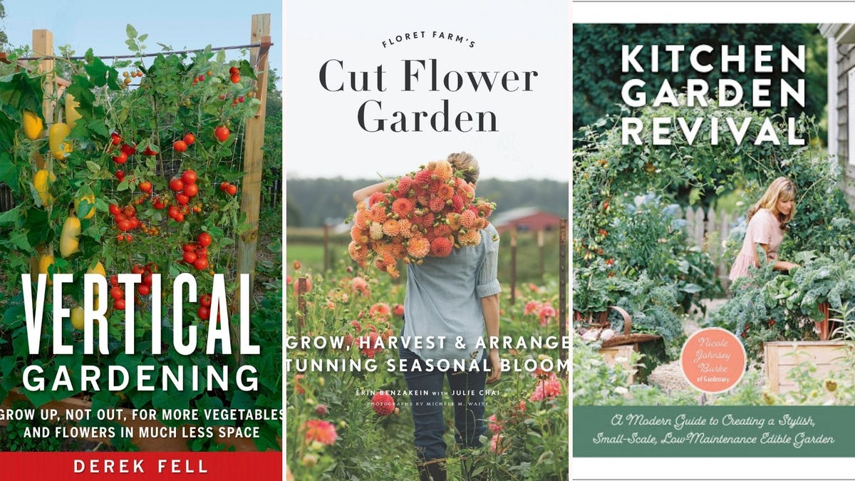 Three book covers featuring lush green plants