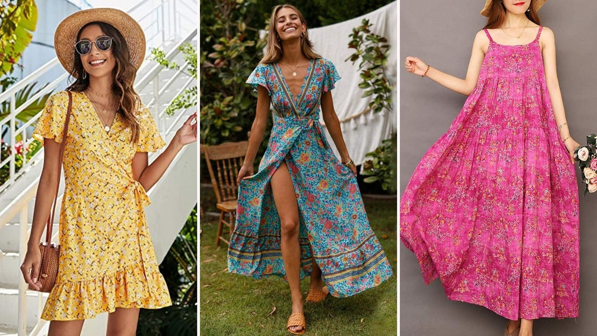 Woman in yellow floral dress with straw hat; woman in blue floral maxi dress; woman in pink floral maxi dress